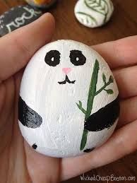 Image result for how to paint a panda on a rock