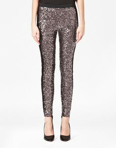 French Connection Tuxedo Sequined Leggings