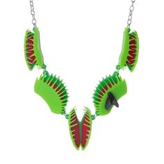 This Venus Flytrap, or Dionaea Muscipula Necklace is comprised of five laser cut and hand assembled acrylic charms, each measuring Venus Fly Trap Care, Lazer Cut, Jacket Pins, Fly Traps, Acrylic Charms, Laser Cut Acrylic, 31 Days Of Halloween, Metal Chain, Monster High