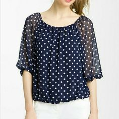 Today only Sheer polka dot top Key copper dot topin excellent condition like new Copper Key Tops