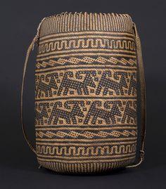 Ajat basket, Penan people. Borneo 20th century, 20 (cm) diameter by 37 (cm) height. Aso motif.