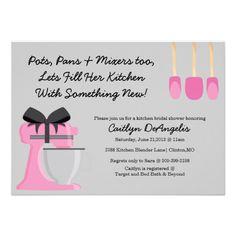 Cute Pink Kitchen Gadget Bridal Shower Invitation