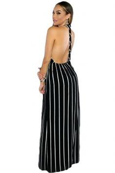Black Stripes Maxi Halter Dress