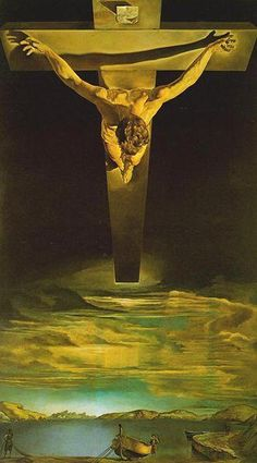 Christ of Saint John of the Cross is a painting by Salvador Dalí made in 1951. It depicts Jesus Christ on the cross in a darkened sky floating over a body of water complete with a boat and fishermen.  1951 Oil on canvas   Dimensions 205 cm × 116 cm (80.7 in × 45.67 in) Kelvingrove Art Gallery and Museum, Glasgow