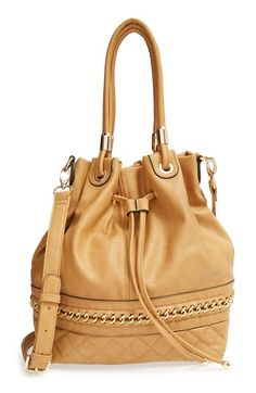 Women's Sole Society Quilted Faux Leather Bucket Bag - Brown Camel One Size
