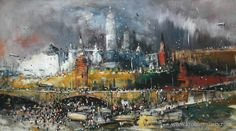 """Konstantin #Batynkov """"The Red Square"""" art project, 2015 in Krokin Gallery. Oil on #canvas, acrylic #paintings. #Moscow #RedSquare #Kremlin #Russia #Russianartist"""