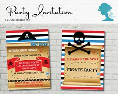Pirate Party Invitation $10AUD by The Digi Dame Printable Party Decor thedigidame.com