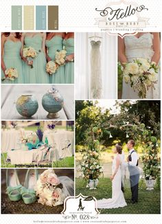 Mint green yellow outdoor globe theme wedding inspiration colour board.