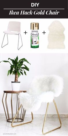 Best IKEA Hacks and DIY Hack Ideas for Furniture Projects and Home Decor from IKEA - DIY IKEA Hack Gold Chair - Creative IKEA Hack Tutorials for DIY Platform Bed, Desk, Vanity, Dresser, Coffee Table, Storage and Kitchen, Bedroom and Bathroom Decor http://diyjoy.com/best-ikea-hacks