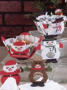 """Special treats for special folks. Size: Each Candy Dish is about 6"""" across x 3"""" tall [15.2 cm x 7.6 cm]; each Napkin Ring and Place Card Holder is about 1 1/2"""" x 4"""" x 4"""" [3.8 cm x 10.2 cm x 10.2 cm]."""