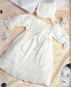 Bergere de France Babies Knitting Patterns Christening Gown & Bonnet Knitting Pattern