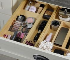 A Drawer Spice Rack insert can be used to create an organized display of your makeup, nail polish, perfumes, colognes, eye-wear, and skin care collections.