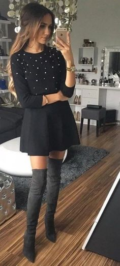 All Things Lovely In This Fall Outfit. 56 Top Outfit Ideas For Starting Your Summer –[. Mode Outfits, Dress Outfits, Winter Outfits, Casual Outfits, Fashion Dresses, Dress Up, School Outfits, Dress Winter, Winter Shoes
