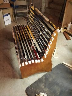 My first bench made from upcycled hockey sticks!