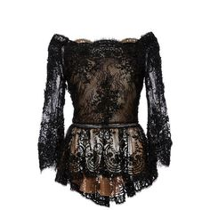 Marchesa Off The Shoulder Beaded Lace Peplum Top ($1,995) ❤ liked on Polyvore featuring tops, black lace top, black peplum top, black ruffle top, off shoulder lace top и black top