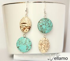 Earrings with beautiful turquoise gemstones and by byVellamo, $20.00