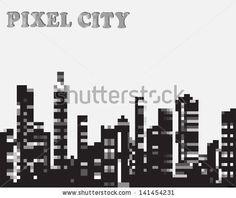 Urban silhouette in the pixel vector graphics - stock vector