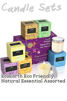 (This is an affiliate pin) EcoEarth Deluxe Gift Candle Set, Full 6 oz (not 2 oz or 4 oz Sample Size) Eco-Friendly Glass Jar + Lid, Natural German Soy Wax Candles Scented w/US Essential Oils for Stress Relief (Assorted, 6 Pack) Jar Candles, Candle Set, Soy Wax Candles, Scented Candles, Glass Jars With Lids, Jar Lids, Essential Oils For Stress, Lavender Flowers, Stress Relief