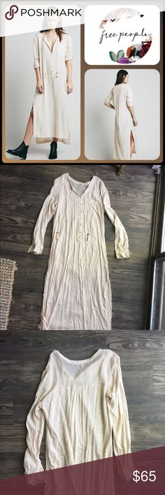Free People Cream/Ivory Long Button Dress Adorable boho gypsie vibe free people dress. Sort of a tunic style with buttons at chest, drawstrings with bell detail. Size -S Free People Dresses