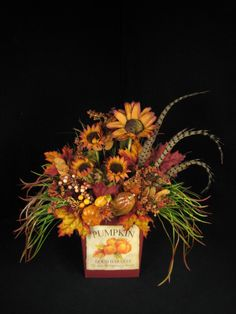 Sunflowers and Pumpkin Fall Thanksgiving Wall Pocket Floral Arrangement Door Wreath on Etsy, $89.00