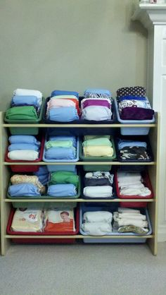 My cloth diaper stash. I got the idea for storage from another Pinterest user.  I love it!