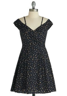 Bloom Goes My Heart Dress - Mid-length, Blue, Red, Tan / Cream, Floral, Pleats, Party, Off the Shoulder