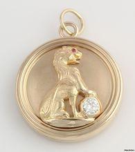 Vintage Genuine Diamond & Ruby Locket - 14k Yellow Gold Lion 4 Leaf Clover 18.1g