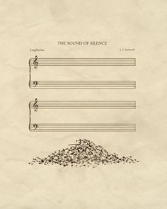 A poster of 'The Sound Of Silence' is visualised meaning of words to use metaphor. A word 'sound' visualises to notes and 'silence' is empty manuscript. Pile of notes serves interesting and a sense of humour. And it uses space and symmetrical layout. Humor Musical, Music Is Life, My Music, Piano Music, Poesia Visual, Music Jokes, Funny Music, Jolie Photo, Music Theory