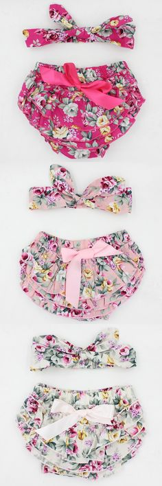 2016 New baby toddler girls bowknot vintage floral ruffle bloomer headband set newborn cute cotton diaper cover