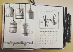 """3 Likes, 1 Comments - Bullet Journal By Peanut (@bulletjournalbypeanut) on Instagram: """"Birds + birdcage = March monthly set up! Not what I plan to use but doodle for those who need some…"""""""