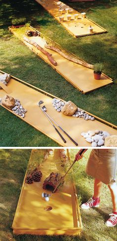 Outdoor Game Ideas to DIY This Summer DIY a mini golf course in your backyard.DIY a mini golf course in your backyard. Backyard Play, Backyard Games, Outdoor Play, Outdoor Yard Games, Diy Garden Games, Outdoor Games Adults, Outdoor Carpet, Indoor Games, Backyard Ideas