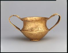 MYCENAEN CIVILIZATION; Gold kantharos from Shaft Grave IV (Grave Circle A at Mycenae), c.ca. 1550–1500 B.C.
