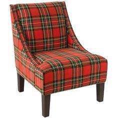 Skyline Furniture Ancient Stewart Red Plaid Slipper Accent Chair #SkylineFurniture