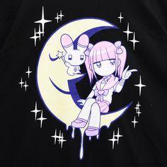 listen-f   Rakuten Global Market: Moonlight men spatula Chan big T-shirt ◆ men spatula Chan X LISTEN FLAVOR (リッスンフレーバー) Gurley pop punk rock Gothic Lolita pretty Harajuku system KERA system Zipper system blue letter system individuality group fashion