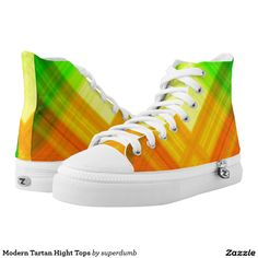 Modern Tartan Hight Tops Printed Shoes you at www.zazzle.com/superdumb