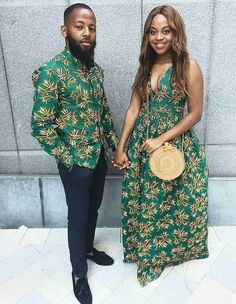 Beautiful african print ankara styles for couples, matching ankara styles for couples African Wedding Attire, African Attire, African Wear, African Dress, African Style, African Print Fashion, African Fashion Dresses, Couples African Outfits, Wedding Suit Styles