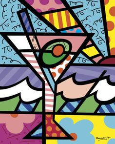 POP ART PRINT - Happy Hour by Romero Britto Martini Cocktail Bar Poster 24x16 #PopArt