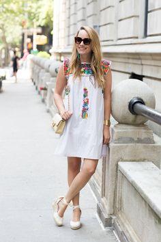 Mi Golondrina Embroidered Dress   BaubleBar Tassel Earrings   Soludos Tall Espadrilles - Grace Atwood, The Stripe - Easy Summer…