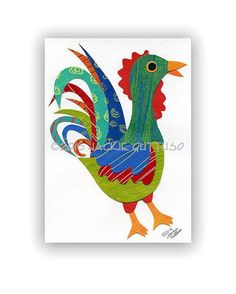 Rooster painting collage Original 5 x 7 by JackieGuttusoDesigns