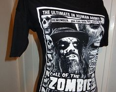 Rob Zombie Call of Zombie band shirt horror heavy metal DIY boat neck form fitting top with 1/2 sleeves - many sizes available
