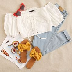 Fashion outfits - Lace Up Front Puff Sleeve Textured Bardot Top Teen Fashion Outfits, Outfits For Teens, Trendy Outfits, Dress Fashion, Cute Summer Outfits, Spring Outfits, Cute Outfits, Outfit Goals, Dress To Impress