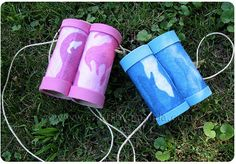 Toilet paper binoculars - Going to make something similar for our dino/egg hunt. I'm going to buy scrapbook paper in reptile patterns if I can find it and use black electrical tape for the ends.
