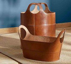 Hayes Leather Storage Baskets
