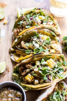 Two Layer Guacamole and Chipotle Chicken Tacos | halfbakedharvest.com @hbharvest