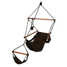 Hammaka Hanging Hammock Air Chair, Wooden Dowels, Black (855686000185) 350 lb Weight Capacity All Color Options: Blue, Green, Tan, Black, And Burgundy Cup Holder, Footrest, Any Carrying Case Included Simple 10 Minute Assembly Manufacturer's Warranty