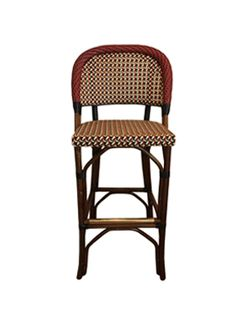 FRENCH BISTRO BAR STOOL. HK-151, WEAVE: CANAGE, COLORS: BEIGE, CREME, DARK RED & BLACK, WOOD FINISH: DARK HONEY.