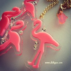 FLAMINGO bubble gum pink laser cut acrylic necklace by didepux, €9.00