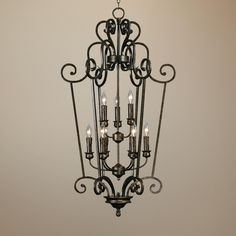 """Heartwood Burnt Sienna 44"""" h x 24 1/4 W High Entry Chandelier -"""