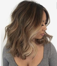 Brown Hair with Blonde Highlights Short Medium Wavy Haircut Hairstyle
