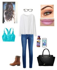 """""""Untitled #87"""" by bellzoe ❤ liked on Polyvore featuring Paige Denim, GlassesUSA, Uniqlo, Charlotte Russe, Aerie, MICHAEL Michael Kors, women's clothing, women, female and woman"""